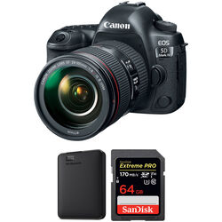 Canon EOS 5D Mark IV DSLR with 24-105mm f/4 II Lens and Storage Kit