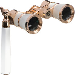 LaScala Optics 3x25 Iolanta Opera Glasses (White & Gold)