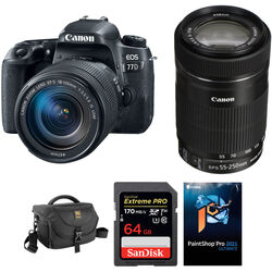 Canon EOS 77D DSLR Camera with 18-135mm USM and 55-250mm Lenses