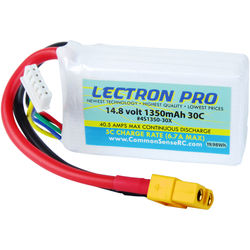 Common Sense RC Lectron Pro 14.8V 1350mAh 30C LiPo Battery with XT60 Connector