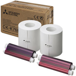 "Mitsubishi 6"" High Grade Paper & Ink Set for CP-K60DW-S Photo Printer"