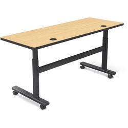 "Balt Height Adjustable Flipper Table (72"" Long, Castle Oak Laminate, Platinum Edge)"