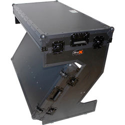 ProX Portable Z-Style DJ Table Flight Case with Handles & Wheels (Black on Black)