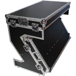 ProX Portable Z-Style DJ Table Flight Case with Handles & Wheels (Black on Chrome)
