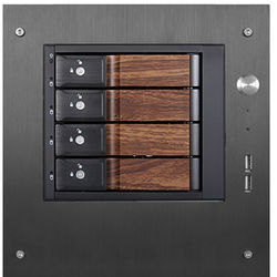 "iStarUSA Compact Stylish 4x 3.5"" Hotswap Trayless mini-ITX Tower (Wood Look HDD Handles)"