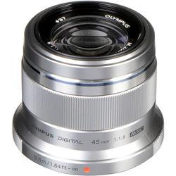 Olympus M.Zuiko Digital 45mm f/1.8 Lens (Silver)