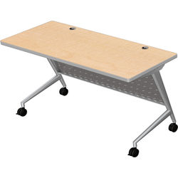 "Balt Trend Fliptop & Conference Table (72"" Long, Silver Frame, Fusion Maple Laminate, Platinum Edge)"