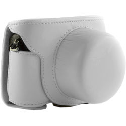 MegaGear Ever Ready Leather Camera Case for Nikon 1 J5 with 10-30mm (White)