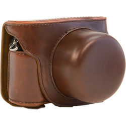 MegaGear Ever Ready Leather Camera Case for Nikon 1 J5 with 10-30mm (Dark Brown)