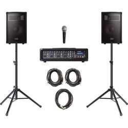 Alesis PA System In a Box Bundle with 280W 4-Channel PA, Two 2-Way Speakers, Stands, Mic, and Cables