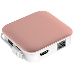 Bidul & Co. Ultimate Hub 2-Port USB 3.0 Hub with Ethernet, Card Reader, Charging, and HDMI (Rose Gold)