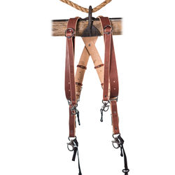 HoldFast Gear Money Maker Three-Camera Harness with Black Hardware (English Bridle, Chestnut, Small)