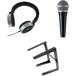 AKG Portable DJ Essentials Kit with K67 Tiesto Headphones, Microphone, and Laptop Stand