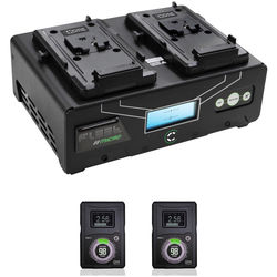 Core SWX Fleet Micro 3A Digital Dual Charger for V-Mount Batteries Kit with Two HyperCore 98Wh Batteries
