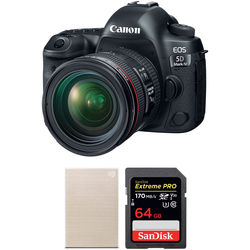 Canon EOS 5D Mark IV DSLR Camera with 24-70mm f/4 Lens and Storage Kit