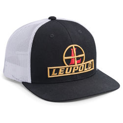 Leupold #511 Reticle Flat Bill Trucker Hat (One Size, Black/White)
