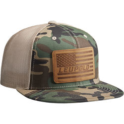 Leupold #511 Leather Flag Flat Bill Trucker Hat (One Size, Camo/Khaki)