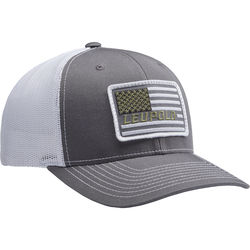 Leupold #112 Flag Patch Trucker Hat (One Size, Charcoal/White)