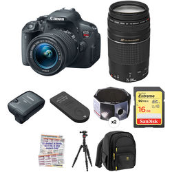 Canon EOS Rebel T5i DSLR Camera with 18-55mm and 75-300mm Lenses Solar Eclipse Kit