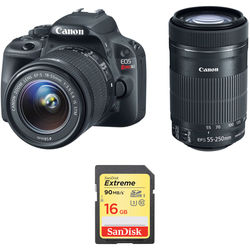 Canon EOS Rebel SL1 DSLR Camera with 18-55mm and 55-250mm Lenses Kit (Black)