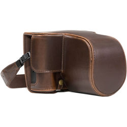 MegaGear MG871 Ever Ready Leather Case with Bottom Opening for Fujifilm X-T2 with 18-55mm (Dark Brown)
