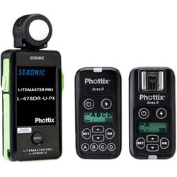 Sekonic LiteMaster Pro L-478DR-U-PX Light Meter with Phottix Ares II Wireless Flash Trigger and Receiver Bundle