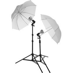 Impact B&H Portrait Light Kit with 6' Light Stand, LED/Fluorescent Lamp Holder, 60W Bulb, and Umbrella
