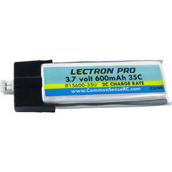 Common Sense RC Lectron Pro 3.7V 600mAh 35C LiPo Battery with UMX Connector for Blade Glimpse