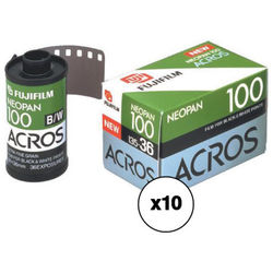 Fujifilm Neopan 100 Acros Black and White Negative Film (35mm Roll Film, 36 Exposure Roll, 10 Pack)