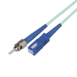 Camplex Simplex ST to SC Multimode Fiber Optic Patch Cable (Aqua, 49.2')