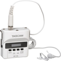 Tascam DR-10L Digital Audio Recorder with Lavalier Mic (White)