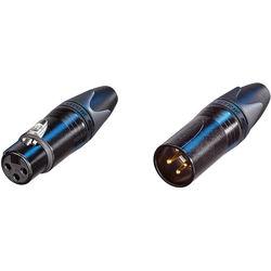 Neutrik XX Series Male and Female XLR Connectors Kit (Black Housing/Gold Contacts)