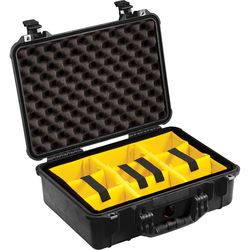 Pelican 1504 Waterproof 1500 Case with Yellow and Black Divider Set (Black)