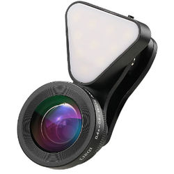 UmAid 3-In-1 Light with Lens Kit for Smartphones (Black)