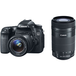 Canon EOS 70D DSLR Camera with 18-55mm and 55-250mm Lenses Kit