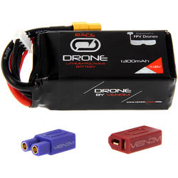 Venom Group 50C 4S 1300mAh FPV Drone Racing LiPo Battery with UNI 2.0 XT60 Connector & EC3 & Deans Adapters (14.8V)