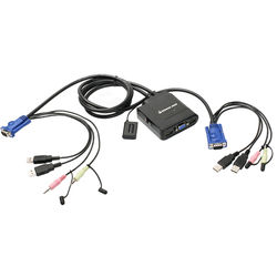 IOGEAR 2-Port USB Cable KVM Switch with Audio and Mic