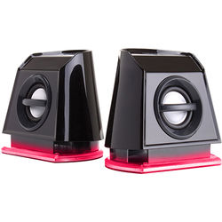 GOgroove BassPULSE 2MX USB Powered 2.0 Channel Computer Speakers (Red/Black)