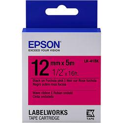 "Epson LabelWorks Wave Ribbon LK Tape Black on Fuchsia Pink Cartridge (1/2"" x 16')"