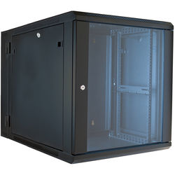 "Video Mount Products 19"" Hinged Wall Equipment Rack Enclosure with 24"" Depth (Black, 12-Spaces)"