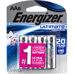 Energizer Ultimate Lithium AA Batteries (1.5V, 3500mAh, 8-Pack)