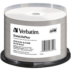 Verbatim DVD+R DL 8.5 GB Thermal Printable Recordable Discs (Spindle Pack of 50)