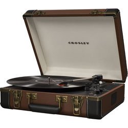 Crosley Radio Executive 3-Speed Turntable with Bluetooth and Pitch Control (Brown)