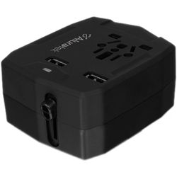 Aluratek Universal Travel Adapter with Dual USB Ports and Built-In Battery Charger