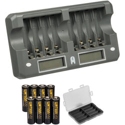 Watson 8-Bay Rapid Charger Kit with AA MX NiMH Rechargeable Batteries (2550mAh, 8-Pack)