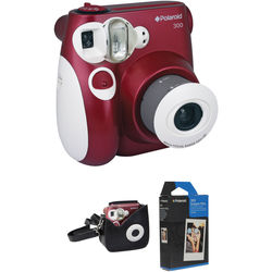 Polaroid 300 Instant Film Camera with Carrying Case and Film Kit (Red)