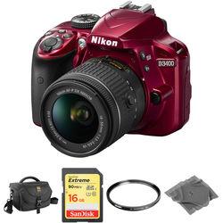 Nikon D3400 DSLR Camera with 18-55mm Lens Basic Kit (Red)