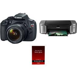 Canon EOS Rebel T5 DSLR Camera with 18-55mm Lens and Inkjet Printer Kit