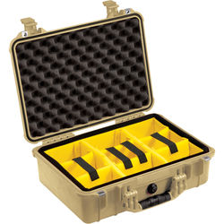 Pelican 1504 Waterproof 1500 Case with Yellow and Black Divider Set (Desert Tan)