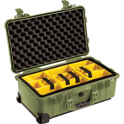 Pelican 1510 Carry On Case with Yellow and Black Divider Set (Olive Drab)